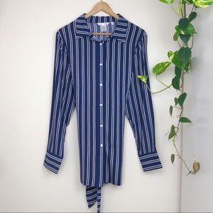 NWOT Luii Blue & White Striped Button down Blouse